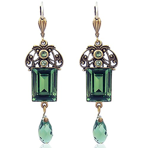 Jugendstil Ohrringe mit Kristallen von Swarovski Grün Gold NOBEL SCHMUCK