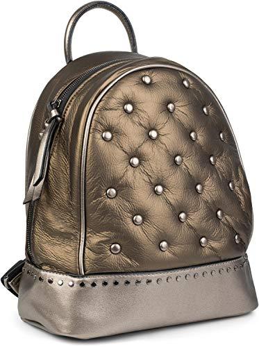 styleBREAKER Damen Rucksack Handtasche mit Nieten im Chesterfield-Stil, Reißverschluss, Tasche 02012266, Farbe:Bronze Metallic