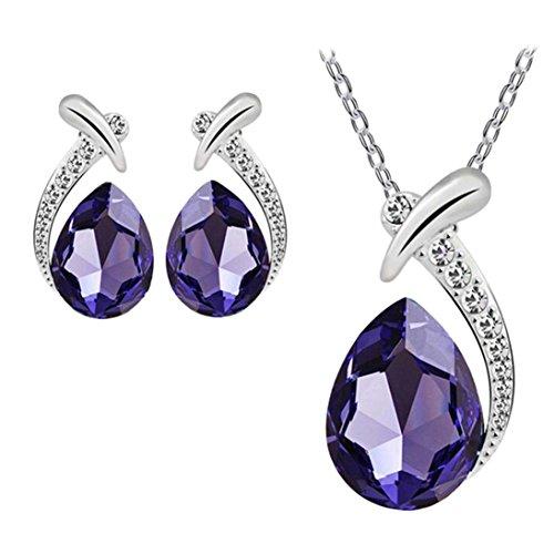 Offerte di liquidazione, fittingran new 925 sterling silver cristalli swarovski donna collana pendente matrimonio orecchini jewelry set charm da donna,regali natale