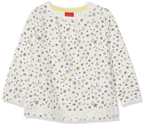 s.Oliver Baby-Mädchen Langarmshirt 65.902.31.8538 Elfenbein (Ecru AOP 02a3), Herstellergröße: 74