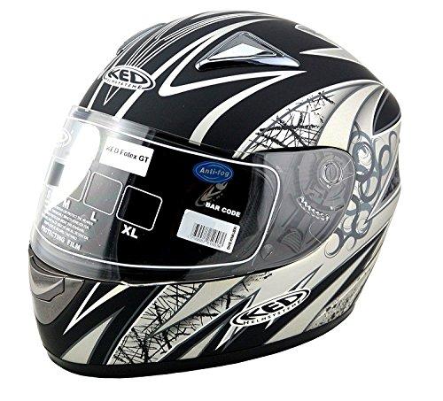 Scoter-motor (KED Motorradhelm Fortex GT, Black Silver Blue Matt, Größe XL, mit Fieberglas und sehr geräuscharm!)