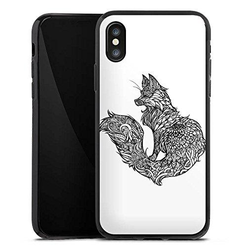 Apple iPhone X Silikon Hülle Case Schutzhülle Fuchs Mandala Fox Silikon Case schwarz