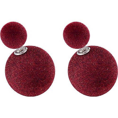 Luckyfree 925 Pure Silver Ear tornillos aretes a doble cara de bola de felpa pequeños y grandes orejas simple chica,vino rojo