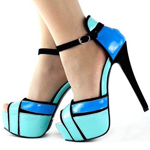 Spectacle histoire trois ton Ankle Strap plate-forme soirée mariage bal Sandals, LF80819 Bleu