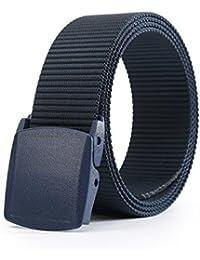 UxradG Cinturón táctico militar de nailon transpirable con hebilla de aleación de liberación rápida y hebilla de plástico para hombre, azul…