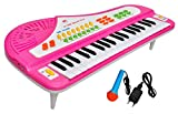 Toyshine 37 Keys Piano,with DC Power Option, Mini Table Stand, Microphone, Recording, Pink