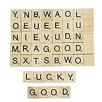 hou zhi liang 100 Pcs DIY Wood Letters Tiles Scrabble Tiles Complete Set for Crafts, Spelling, Pendants