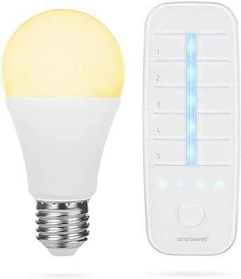 Smartwares Smart Home Pro E27 Led Lampe Fernbedienung Stufenlos Einstellbar Dimmbar Alexa Kompatibel App Steuerbar Via Basisstation Transparent Beleuchtung