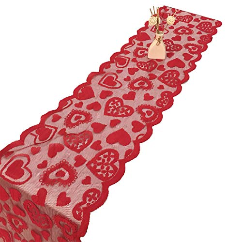 Zoylink tovaglietta runner con motivo cuore a forma di cuore, per san valentino