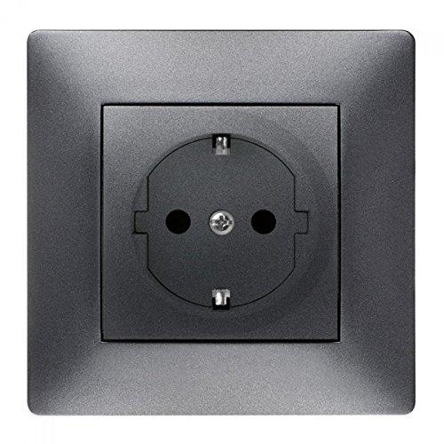Schuko Steckdose Ausschalter Taster Lichtschalter Schalter VOLANTE ANTHRAZIT Einsatz + Rahmen + Abdeckung (Schuko Steckdose 2637-08) -