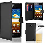 Black Flip Wallet Leather CASE COVER FOR SAMSUNG GALAXY i9100 S2 + Free Screen Protector, Cloth and stylus Pen