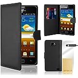 32nd® Funda de cuero sintético tipo billetera para Samsung Galaxy S2 Sii i9100, incluye protector de pantalla, paño de limpieza y lápiz optico - Negro