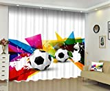 3D Digital Printing Blackout Window Curtains- Soccers Drapes 2 Panels Set For Living Room Bedroom Window Decor
