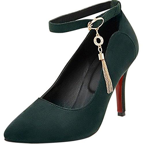 Agodor Damen Spitze Stiletto High Heels Ankle Strap Pumps mit Schnallen und Strass Rockabilly Nubukleder Schuhe (Spitze Schnalle Nubukleder)
