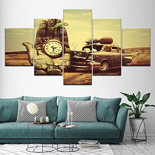 mmwin Tela Decorativa per la casa 5 Pezzi Stile Vintage Foto di Auto Quadri artistici Poster modulari per Soggiorno