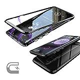 Samsung Galaxy S9 Plus S9+ Hülle, 9H gehärtetes Glas zurück Abdeckung (Keine gehärtetes Glas vorne) Eingebauter Magnet Flip Cover für Samsung Galaxy S9 Plus (Schwarz)