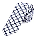 DonDon Herren Krawatte kariert 6 cm weiß-blau
