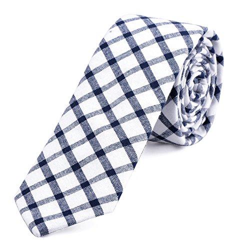bccb43e0f33e4f DonDon Herren Krawatte kariert 6 cm weiß-blau – Cafe-GothLand.de