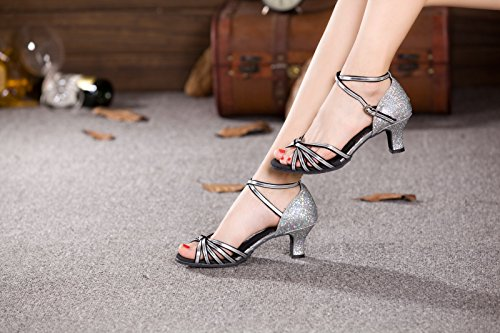 XPY&DGX Latino argento scarpe da ballo, donne adulte in scarpe da ballo con piazza moderna scarpe da ballo, estate fondo morbido tacchi, 3 255MM