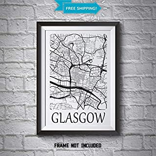 Glasgow City Map Wall Art Poster Prints - Alternative Wall Art Gift Ideas - City Centre Street Map Abstract Poster in Black or White - 3 for 2 on all Art Prints - 100% Cotton Fine Art Paper