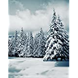 A.Monamour Scenic Winter White Snow Trees With Rimes Hoarfrost Christmas Holiday Mural Party Wall Decorations Vinyl Fabric Photography Backdrops 5x7ft - Pine Tree With Hoarfrost