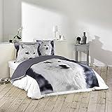 Déco-de-maison - Juego de cama (1 funda nórdica de 220 x 240 cm, 2 fundas de almohada de 63 x 63 cm), diseño de imagen de perro lobo
