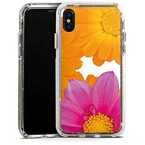 Apple iPhone 7 Bumper Hülle Bumper Case Glitzer Hülle Blumen Flowers Pink Bumper Case Glitzer gold