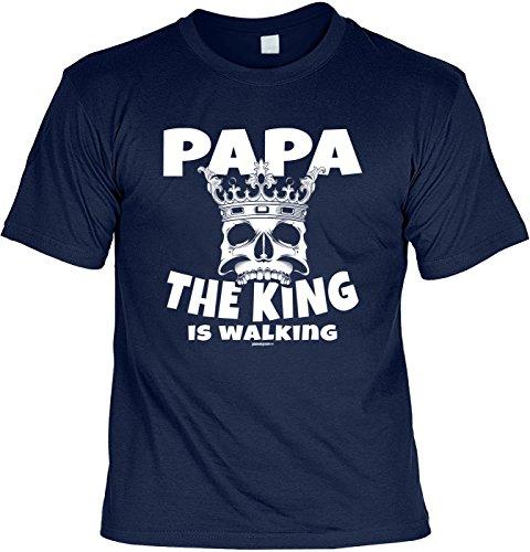 T-Shirt: PAPA Dad Vatertag PAPA The KING ist Walking als Präsent Navyblau