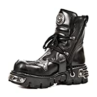 NEWROCK New Rock 407 Silver Cross Black Gothic Biker Boot Leather Boots (UK 8/EU 42)