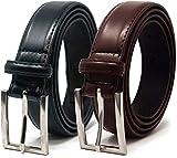 Ashford Ridge Hombres 30mm cinturones de cuero marrón y negro Set de Regalo (cintura tamaños 90cm - 100cm)