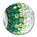SilberDream Glitzer Bead Swarovski Kristalle grün/weiß ICE SilberDream Silber Beads für Bettelarmbänder GSB009