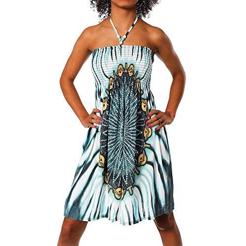 H112 Damen Sommer Aztec Bandeau Bunt Tuch Kleid Tuchkleid Strandkleid Neckholder, Farben:F-021 Türkis;Größen:Einheitsgröße