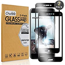 [2 Pack] Owbb Tempered Glass Screen Protector For Huawei P8 Lite (2017) / P9 Lite (2017) Black Full Coverage Film 99% Hardness High Transparent Explosion-proof