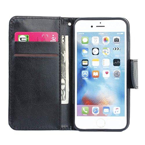 """MOONCASE pour iPhone 6 / 6S (4.7"""") Case Cuir Portefeuille Coque en Housse de Protection Étui à rabat Case Blanc Noir #0308"""