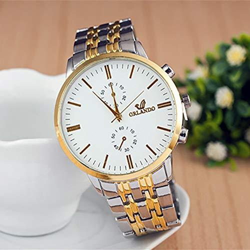 WANGF Herren Armbanduhr Männer Gold Silber Farbe Edelstahl Schwarz Weiss Zifferblatt Analog Quarzuhr Herrenuhr