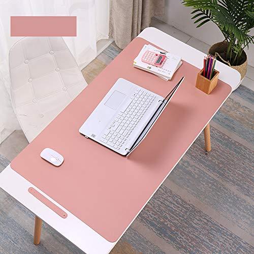 Alfombrilla de escritorio impermeable de piel sintética para ratón, suave, antideslizante, para oficina y hogar, rectangular, color rosa 90x45cm