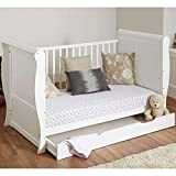 White Solid Sleigh Style Cot Bed & Deluxe Foam or Sprung Mattress Converts into a Junior Bed