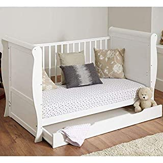 White Solid Sleigh Style Cot Bed & Deluxe Foam or Sprung Mattress Converts into a Junior Bed (Cot Bed with Foam Mattress and a Drawer)