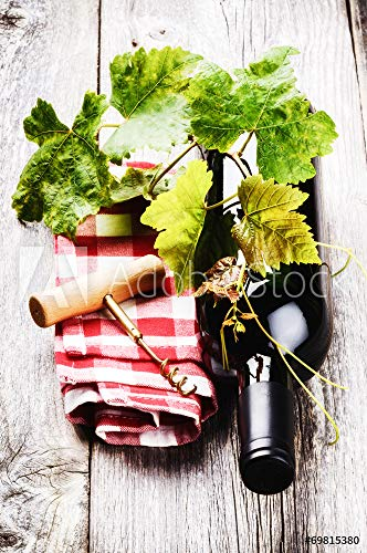 druck-shop24 Wunschmotiv: Bottle of red Wine with Grapevine #69815380 - Bild als Klebe-Folie - 3:2-60 x 40 cm / 40 x 60 cm