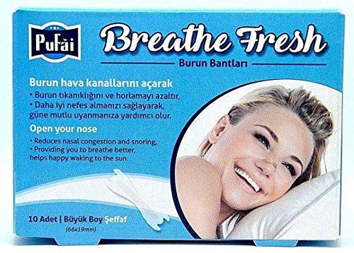 Nasenstreifen. 10 Stück in einer Box, TRANSPARENT große Größe (66 * 19 mm) atmen frische Nasenstreifen von Pufai.
