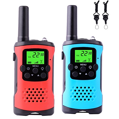 ZHISHAN PMR Funkgerät Kinder 22 Kanäle Walkie Talkies 2-Wege Radio Spielzeug Mit Taschenlampe Long Range (3KM-6KM) Handfunksprechgerät Paar (Blau and Rot)