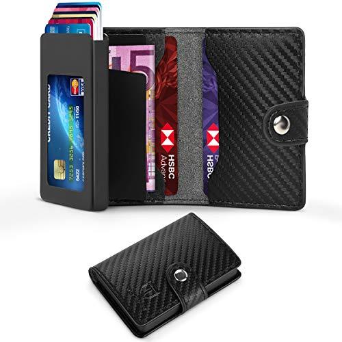 Especificación: Material: Cuero de Fibra de Carbono Color: Negro Tamaño del producto: 9 CM x 7 CM x 2 CM Peso: 110g  El paquete Incluye: 1 x Tarjetero Hombre 1 x Tarjeta Postal 1 x Caja de Regalo