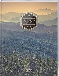 """TULPE Liniertes Notizbuch A4 """"C038 Wälder"""" (140+ Seiten, Vintage Softcover, Doppelrand, Seitenzahlen, Register - Dickes Notizheft, Deutschheft, Schreibheft, Schulheft, Tagebuch, Lineatur 27)"""