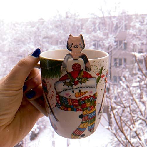 Ayomi 4Edelstahl Katze Kätzchen Design Edelstahl Kaffee/Dessert/Drink/mischen/Milchshake Löffel Geschirr Besteck Gadgets Scoop Schöpfkelle Löffel - 2