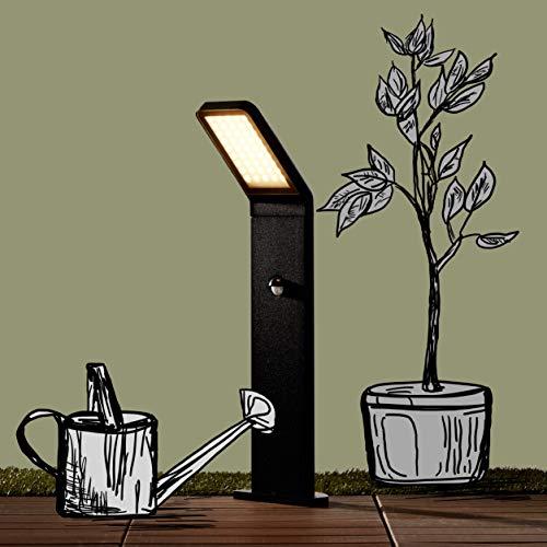 Moderne 9W LED Außensockelleuchte, Wegeleuchte mit Bewegungsmelder, IP 44, 600 Lumen, 3000K warmweiß, Aluminium/Glas, schwarz