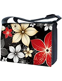 Luxburg Design sac bandoulière pour ordinateur portable 17Avec Bandoulière–Big Rouge et Blanc Fleurs