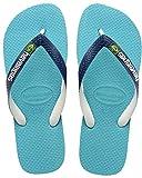 Havaianas Unisex Adults' Brasil Mix Flip Flops, Blue, 3/4 UK