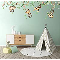 DECOWALL Monkeys on Vine Kids Wall Stickers Wall Decals Peel and Stick Removable Wall Stickers for Kids Nursery Bedroom Living Room (1507S 1507)