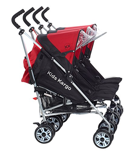 Kids Kargo Triple Pushchair Triplet Buggies Child Baby New-Born Buggy Stroller (Berry Red) with Triple Reins