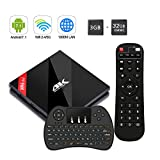 [Kabellose Tastatur]H96 Pro+ 3GB+32GB TV Box,Neuste Android 7.1 TV Box mit Amlogic S912 Octa-Core CPU ,4K Ultra HD Set Top Box Unterstützt Dual-WiFi 2.4G / 5G und LAN Schnittstelle mit Fernbedienung